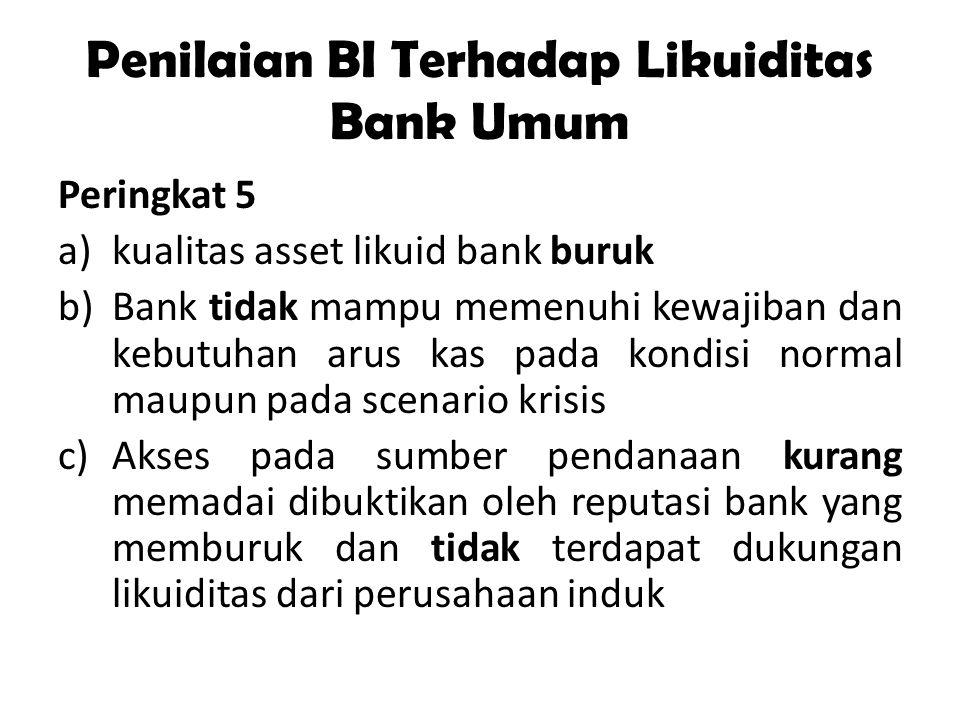 Penilaian BI Terhadap Likuiditas Bank Umum Peringkat 5 a)kualitas asset likuid bank buruk b)Bank tidak mampu memenuhi kewajiban dan kebutuhan arus kas