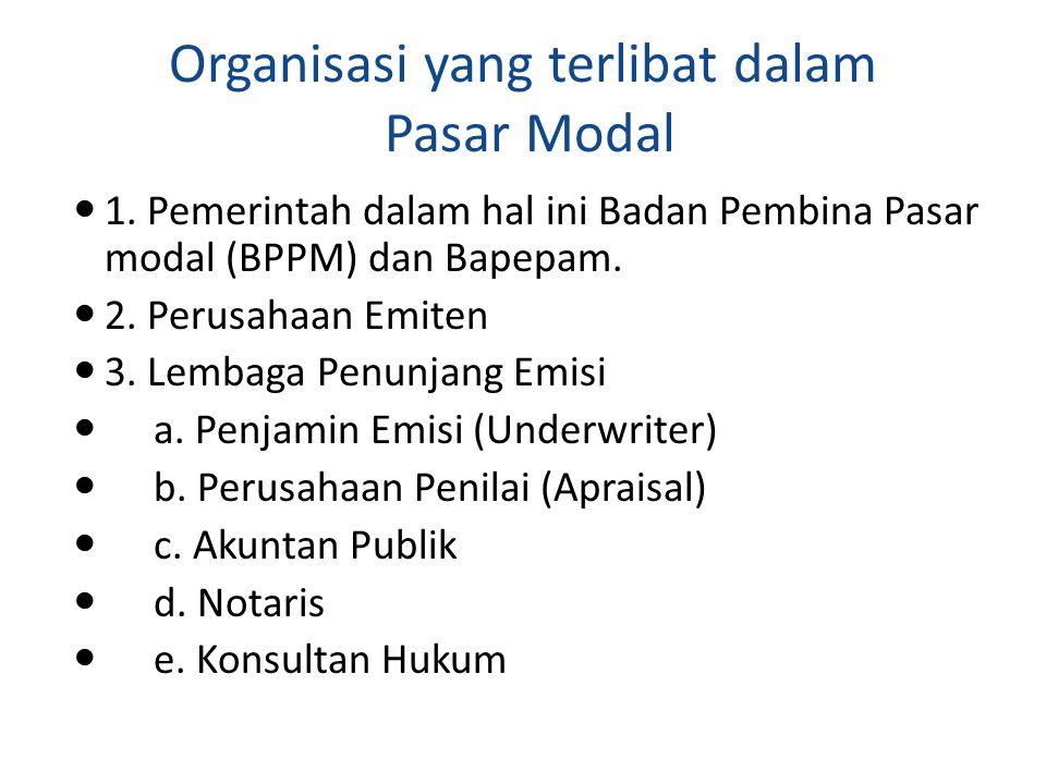 Organisasi yang terlibat dalam Pasar Modal 1. Pemerintah dalam hal ini Badan Pembina Pasar modal (BPPM) dan Bapepam. 2. Perusahaan Emiten 3. Lembaga P