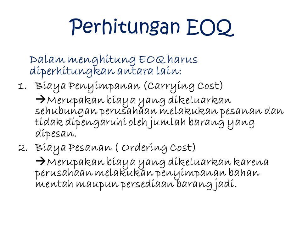 Perhitungan EOQ Dalam menghitung EOQ harus diperhitungkan antara lain: 1.Biaya Penyimpanan (Carrying Cost)  Merupakan biaya yang dikeluarkan sehubung
