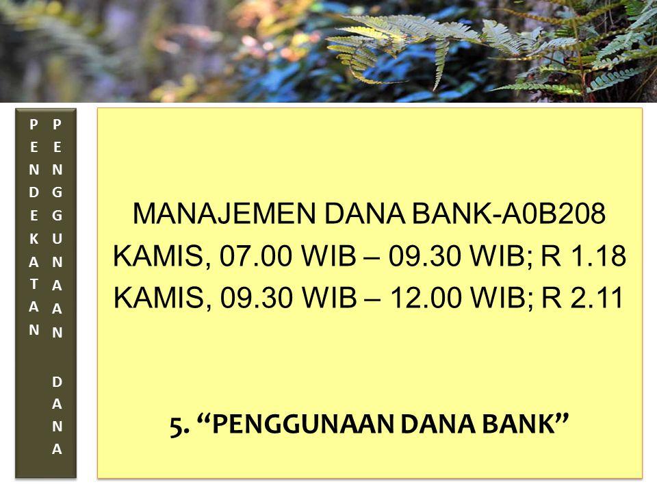 """TAHUN 2012-FINNY REDJEKI S.E.,M.M.(B1075) MANAJEMEN DANA BANK-A0B208 KAMIS, 07.00 WIB – 09.30 WIB; R 1.18 KAMIS, 09.30 WIB – 12.00 WIB; R 2.11 5. """"PEN"""