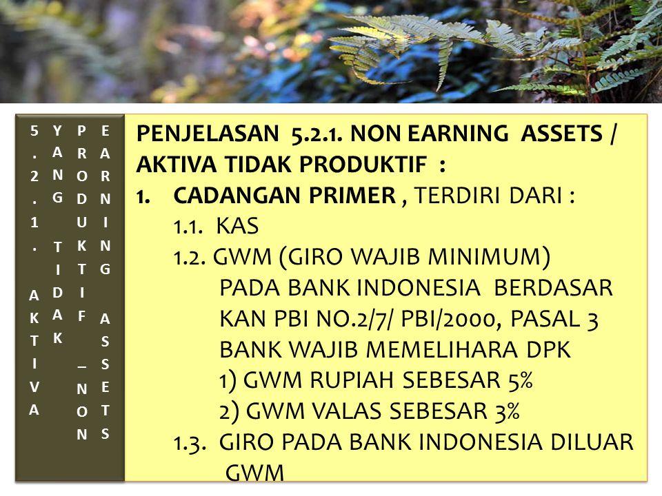 TAHUN 2012-FINNY REDJEKI S.E.,M.M.(B1075) PENJELASAN 5.2.1. NON EARNING ASSETS / AKTIVA TIDAK PRODUKTIF : 1.CADANGAN PRIMER, TERDIRI DARI : 1.1. KAS 1
