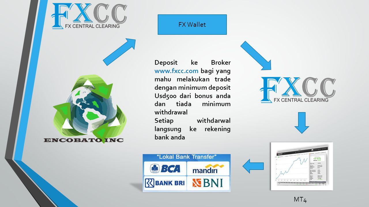 FX Wallet Deposit ke Broker www.fxcc.com bagi yang mahu melakukan trade dengan minimum deposit Usd500 dari bonus anda dan tiada minimum withdrawal Setiap withdarwal langsung ke rekening bank anda MT4