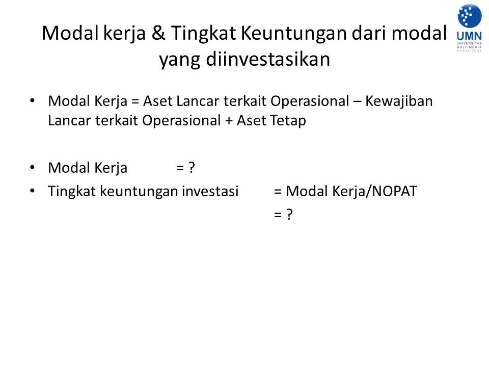 Modal kerja & Tingkat Keuntungan dari modal yang diinvestasikan Modal Kerja = Aset Lancar terkait Operasional – Kewajiban Lancar terkait Operasional + Aset Tetap Modal Kerja = .