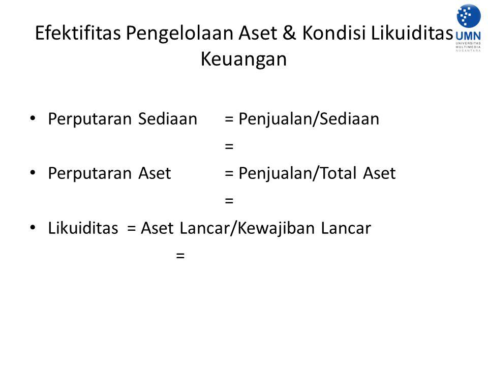 Efektifitas Pengelolaan Aset & Kondisi Likuiditas Keuangan Perputaran Sediaan = Penjualan/Sediaan = Perputaran Aset = Penjualan/Total Aset = Likuiditas= Aset Lancar/Kewajiban Lancar =