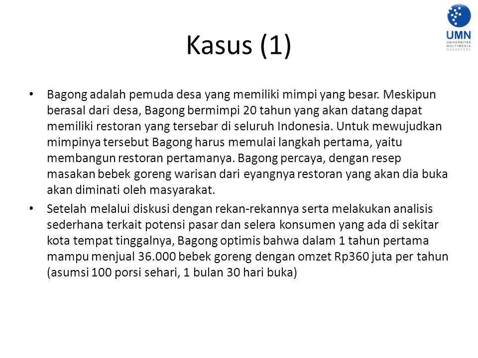 Kasus (1) Bagong adalah pemuda desa yang memiliki mimpi yang besar.