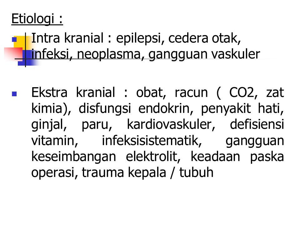 Etiologi : Intra kranial : epilepsi, cedera otak, infeksi, neoplasma, gangguan vaskuler Ekstra kranial : obat, racun ( CO2, zat kimia), disfungsi endo