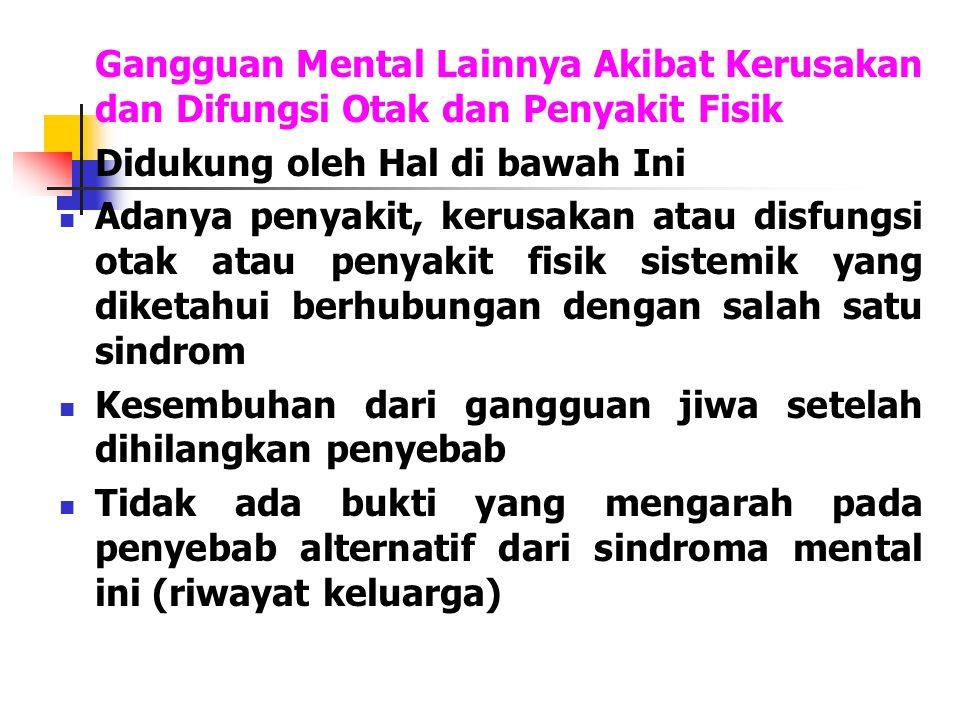 Gangguan Mental Lainnya Akibat Kerusakan dan Difungsi Otak dan Penyakit Fisik Didukung oleh Hal di bawah Ini Adanya penyakit, kerusakan atau disfungsi