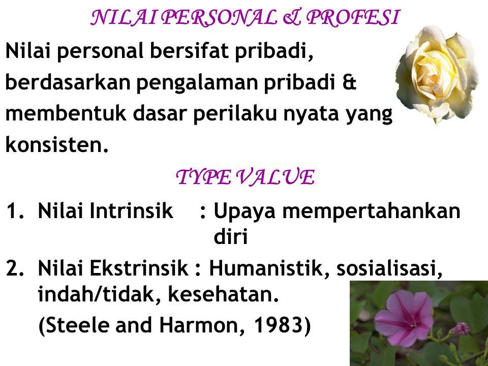 NILAI PERSONAL & PROFESI Nilai personal bersifat pribadi, berdasarkan pengalaman pribadi & membentuk dasar perilaku nyata yang konsisten. TYPE VALUE 1