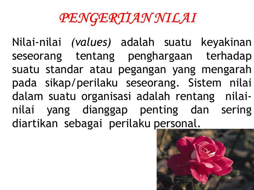 PENGERTIAN NILAI Nilai-nilai (values) adalah suatu keyakinan seseorang tentang penghargaan terhadap suatu standar atau pegangan yang mengarah pada sik