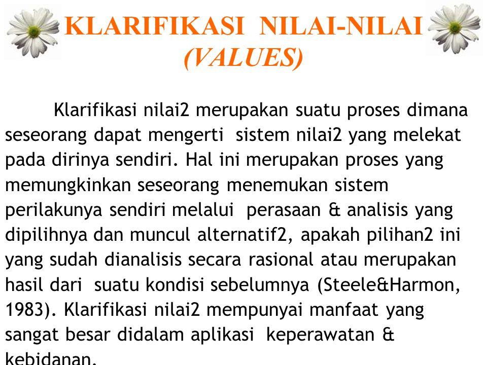 KLARIFIKASI NILAI-NILAI (VALUES) Klarifikasi nilai2 merupakan suatu proses dimana seseorang dapat mengerti sistem nilai2 yang melekat pada dirinya sen