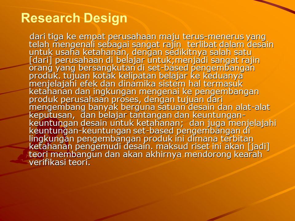 Research Design dari tiga ke empat perusahaan maju terus-menerus yang telah mengenali sebagai sangat rajin terlibat dalam desain untuk usaha ketahanan, dengan sedikitnya salah satu [dari] perusahaan di belajar untuk;menjadi sangat rajin orang yang bersangkutan di set-based pengembangan produk.
