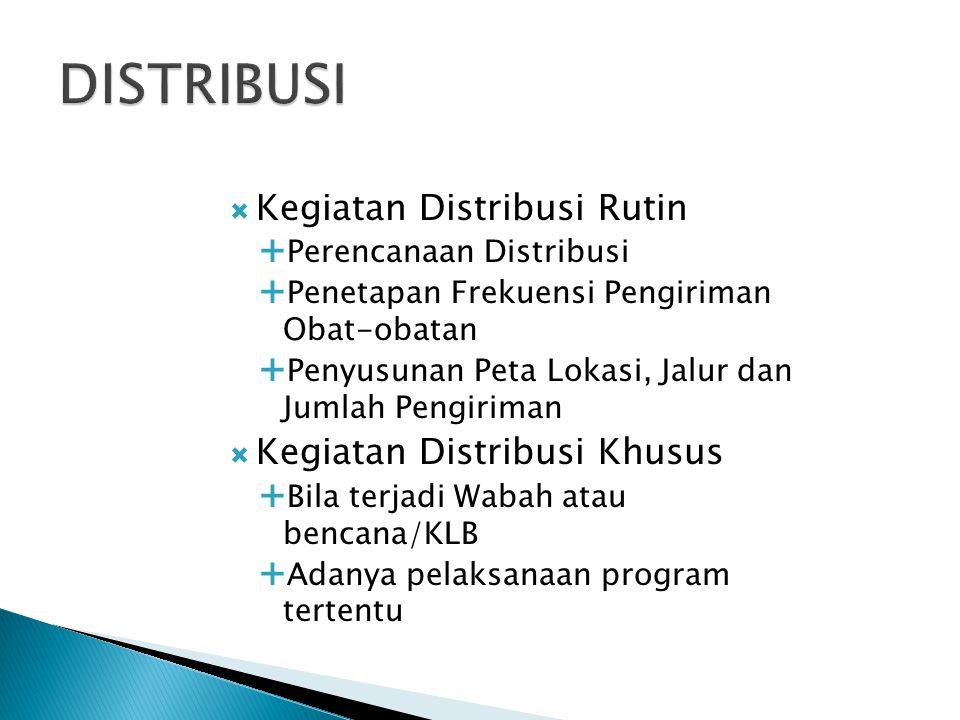  Kegiatan Distribusi Rutin  Perencanaan Distribusi  Penetapan Frekuensi Pengiriman Obat-obatan  Penyusunan Peta Lokasi, Jalur dan Jumlah Pengirima