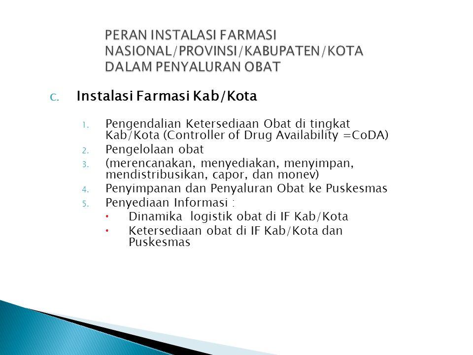 C. Instalasi Farmasi Kab/Kota 1. Pengendalian Ketersediaan Obat di tingkat Kab/Kota (Controller of Drug Availability =CoDA) 2. Pengelolaan obat 3. (me