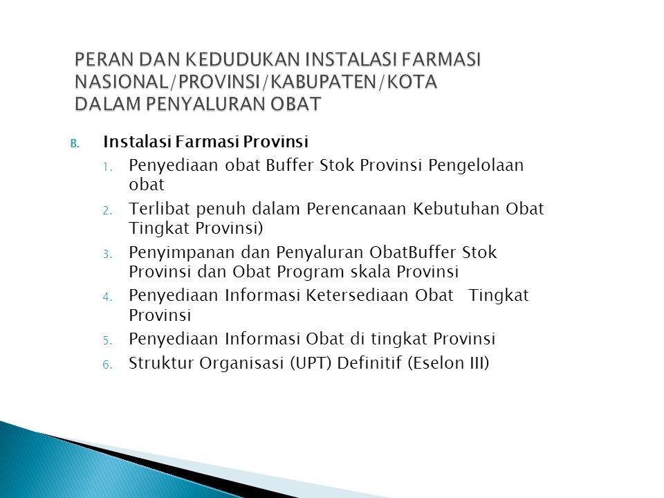 B. Instalasi Farmasi Provinsi 1. Penyediaan obat Buffer Stok Provinsi Pengelolaan obat 2. Terlibat penuh dalam Perencanaan Kebutuhan Obat Tingkat Prov