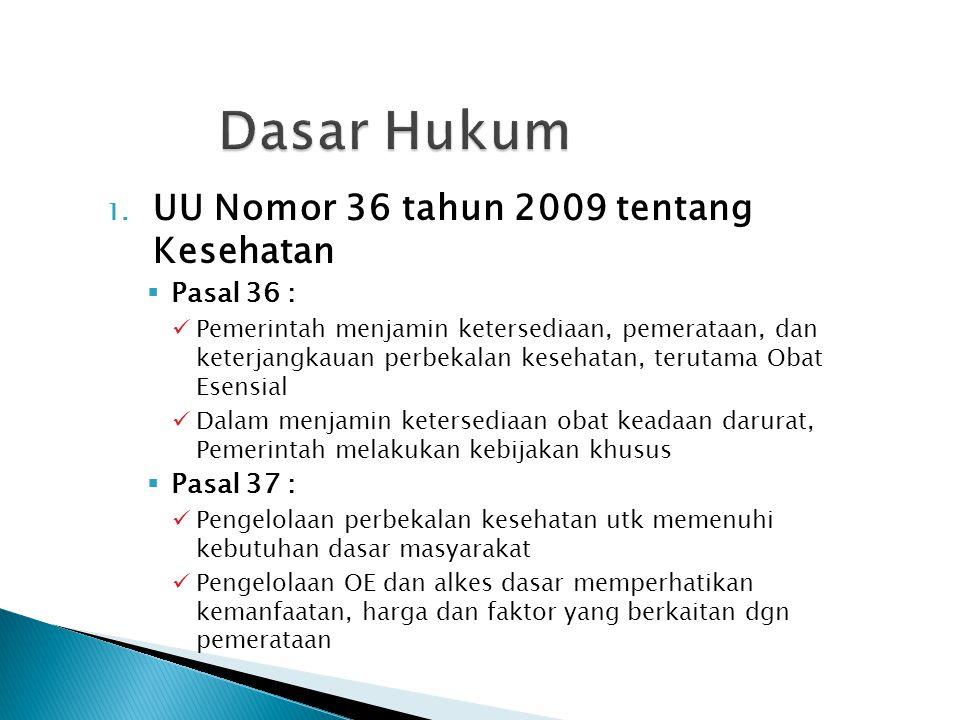 1. UU Nomor 36 tahun 2009 tentang Kesehatan  Pasal 36 : Pemerintah menjamin ketersediaan, pemerataan, dan keterjangkauan perbekalan kesehatan, teruta