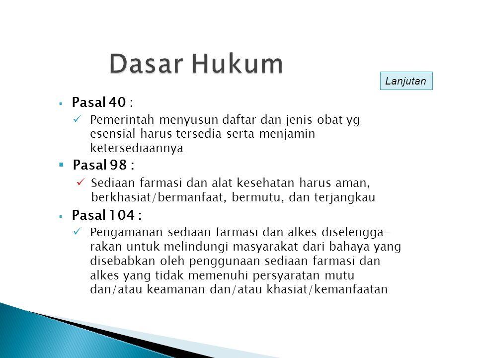 PERAN PUSAT DAN DAERAH DALAM OBAT DAN PERBEKALAN KESEHATAN (PP 38/2007) SUB-SUB BIDANG : KETERSEDIAAN, PEMERATAAN, MUTU OBAT DAN KETERJANGKAUAN OBAT SERTA PERBEKALAN KESEHATAN PUSAT : Penyediaan dan Pengelolaan Buffer Stok Obat, Alkes, Reagensia & Vaksin Tertentu Skala Nasional PROPINSI : Penyediaan dan Pengelolaan Buffer Stok Obat, Alkes, Reagensia & Vaksin Lainnya Skala Provinsi KAB/KOTA : Penyediaan dan Pengelolaan Obat PKD, Alkes, Reagensia & Vaksin Skala Kab/Kota