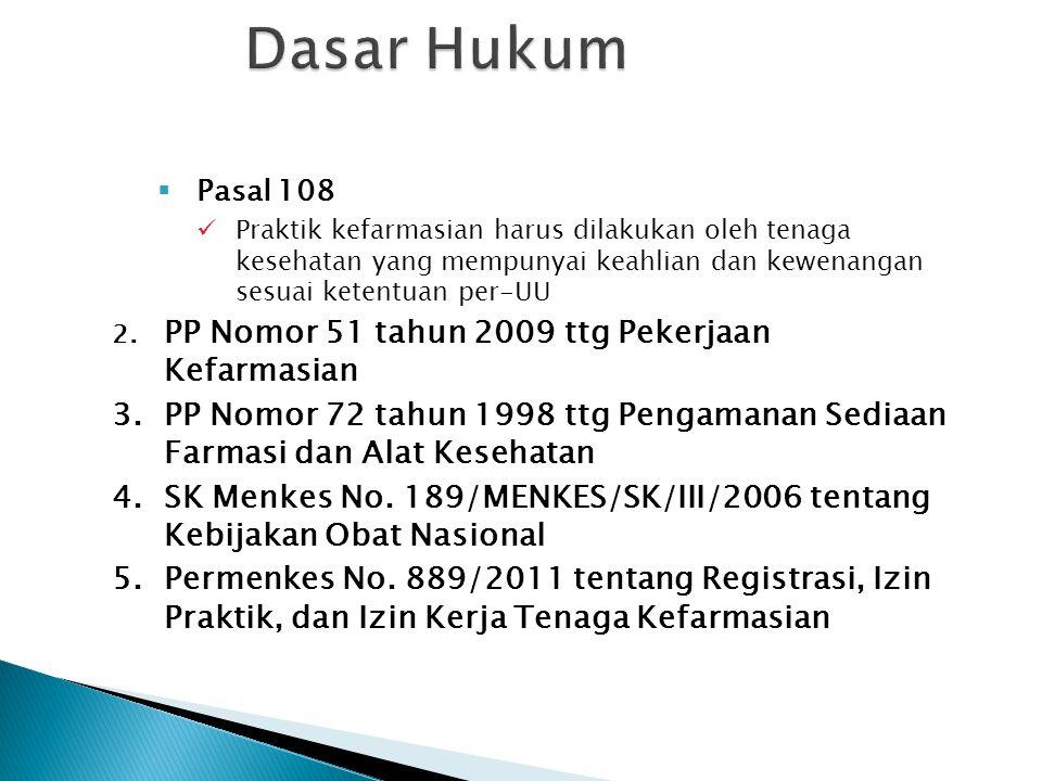  Pasal 108 Praktik kefarmasian harus dilakukan oleh tenaga kesehatan yang mempunyai keahlian dan kewenangan sesuai ketentuan per-UU 2. PP Nomor 51 ta