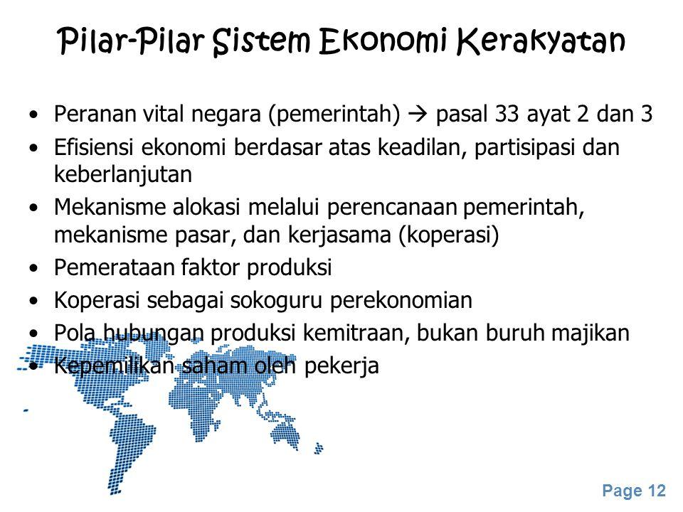 Page 12 Pilar-Pilar Sistem Ekonomi Kerakyatan Peranan vital negara (pemerintah)  pasal 33 ayat 2 dan 3 Efisiensi ekonomi berdasar atas keadilan, part