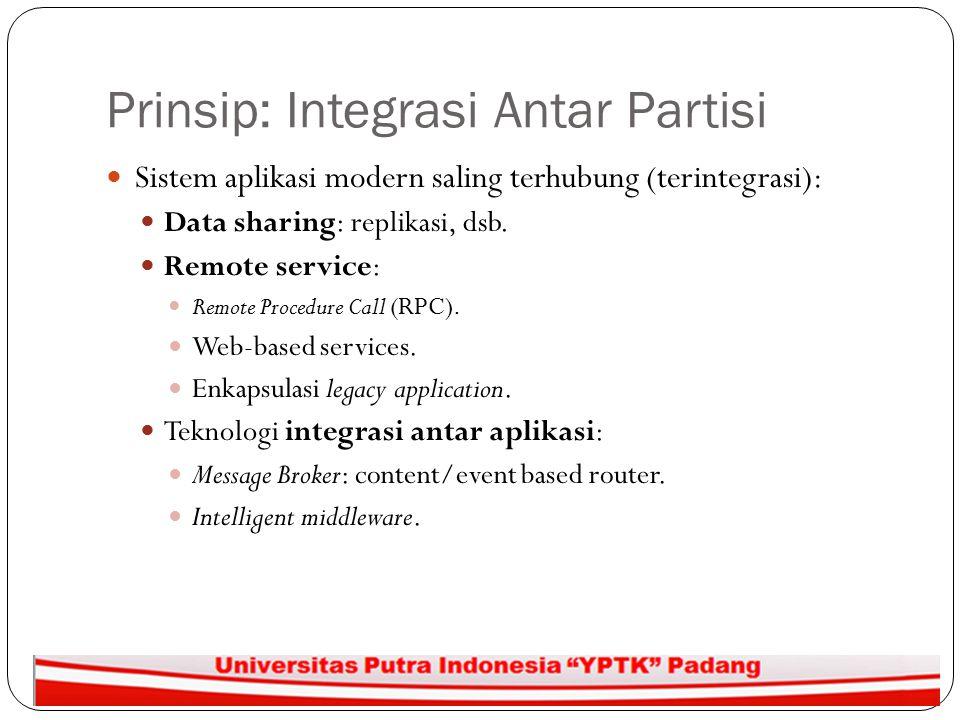 Prinsip: Integrasi Antar Partisi Sistem aplikasi modern saling terhubung (terintegrasi): Data sharing: replikasi, dsb. Remote service: Remote Procedur