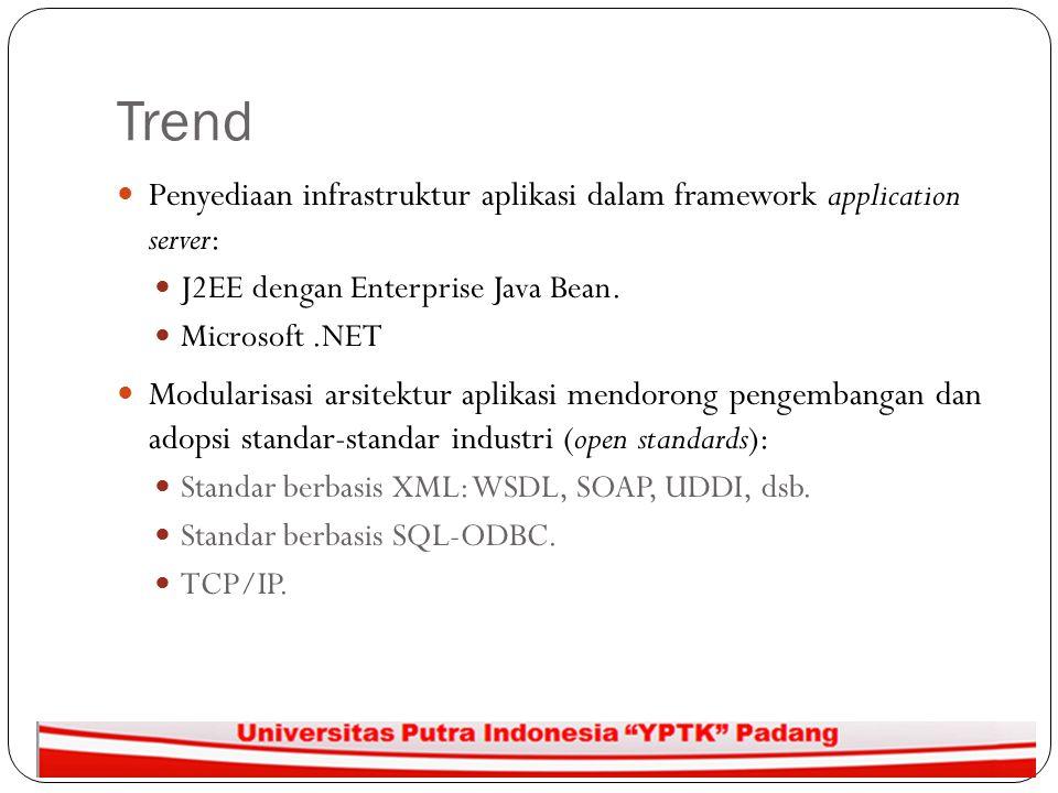Trend Penyediaan infrastruktur aplikasi dalam framework application server: J2EE dengan Enterprise Java Bean. Microsoft.NET Modularisasi arsitektur ap