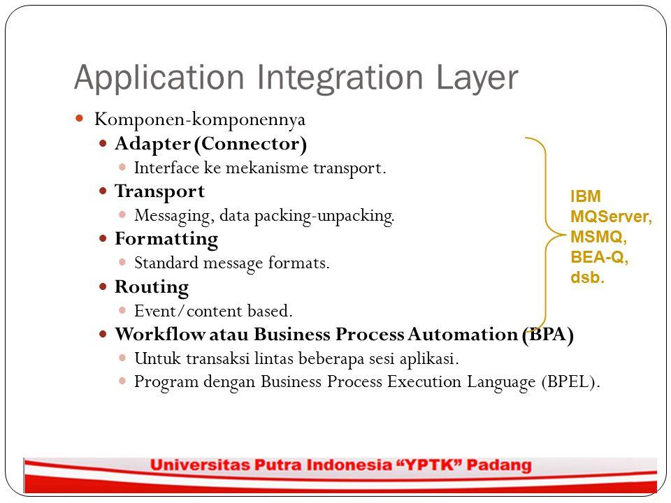Application Integration Layer Komponen-komponennya Adapter (Connector) Interface ke mekanisme transport. Transport Messaging, data packing-unpacking.