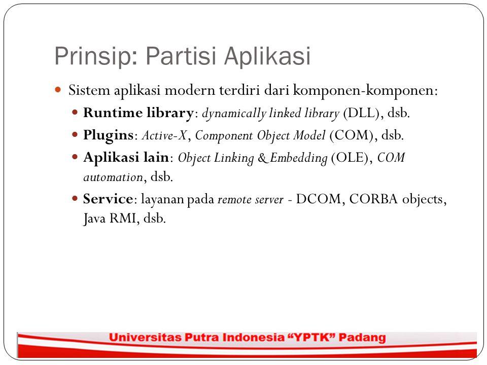 Prinsip: Partisi Aplikasi Sistem aplikasi modern terdiri dari komponen-komponen: Runtime library: dynamically linked library (DLL), dsb. Plugins: Acti