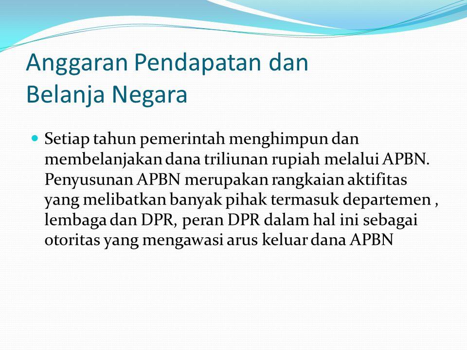 Anggaran Pendapatan dan Belanja Negara Sesuai UUD 45, APBN harus diwujudkan dala bentuk Undang-undang, dalam hal ini Presiden berkewajiban menyusun dan mengajukan Rancangan APBN kepada DPR.