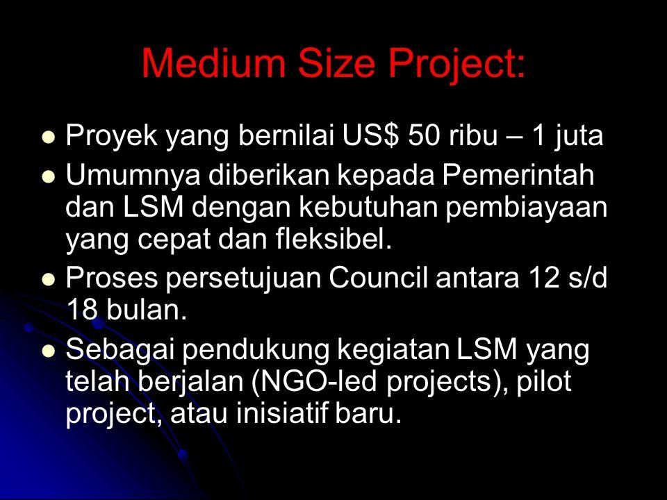 Medium Size Project: Proyek yang bernilai US$ 50 ribu – 1 juta Umumnya diberikan kepada Pemerintah dan LSM dengan kebutuhan pembiayaan yang cepat dan fleksibel.