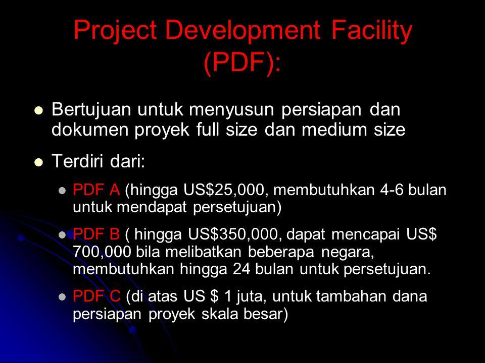 Project Development Facility (PDF): Bertujuan untuk menyusun persiapan dan dokumen proyek full size dan medium size Terdiri dari: PDF A (hingga US$25,000, membutuhkan 4-6 bulan untuk mendapat persetujuan) PDF B ( hingga US$350,000, dapat mencapai US$ 700,000 bila melibatkan beberapa negara, membutuhkan hingga 24 bulan untuk persetujuan.