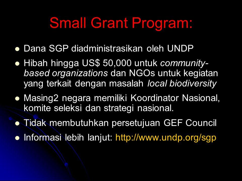 Small Grant Program: Dana SGP diadministrasikan oleh UNDP Hibah hingga US$ 50,000 untuk community- based organizations dan NGOs untuk kegiatan yang terkait dengan masalah local biodiversity Masing2 negara memiliki Koordinator Nasional, komite seleksi dan strategi nasional.