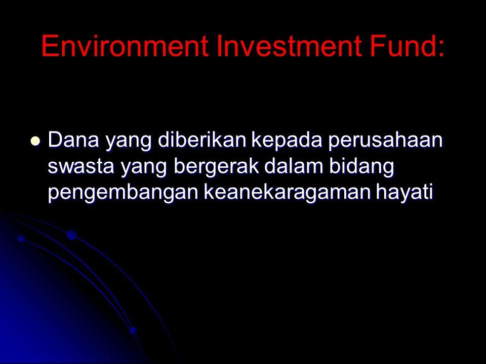 Environment Investment Fund: Dana yang diberikan kepada perusahaan swasta yang bergerak dalam bidang pengembangan keanekaragaman hayati Dana yang diberikan kepada perusahaan swasta yang bergerak dalam bidang pengembangan keanekaragaman hayati