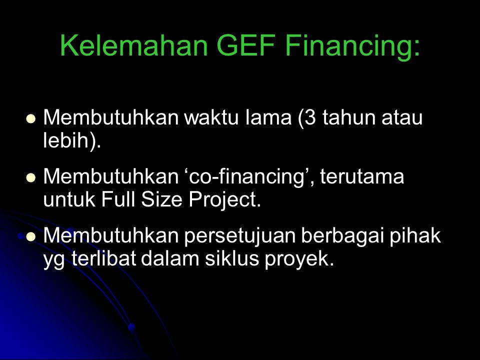 Kelemahan GEF Financing: Membutuhkan waktu lama (3 tahun atau lebih).