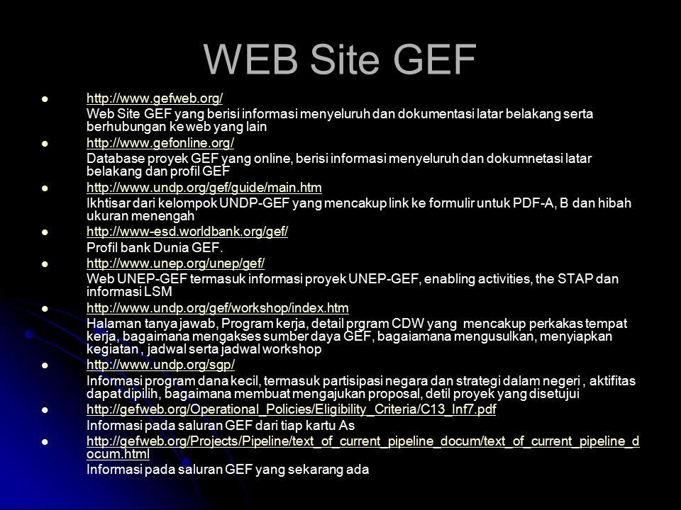 WEB Site GEF http://www.gefweb.org/ Web Site GEF yang berisi informasi menyeluruh dan dokumentasi latar belakang serta berhubungan ke web yang lain http://www.gefonline.org/ Database proyek GEF yang online, berisi informasi menyeluruh dan dokumnetasi latar belakang dan profil GEF http://www.undp.org/gef/guide/main.htm Ikhtisar dari kelompok UNDP-GEF yang mencakup link ke formulir untuk PDF-A, B dan hibah ukuran menengah http://www-esd.worldbank.org/gef/ Profil bank Dunia GEF.