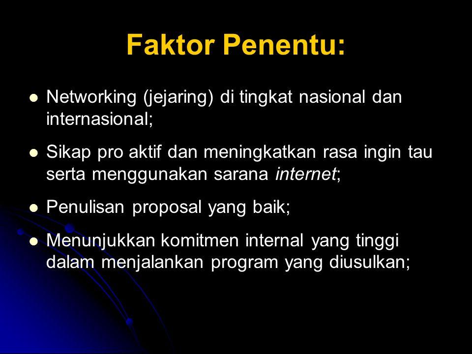 Faktor Penentu: Networking (jejaring) di tingkat nasional dan internasional; Sikap pro aktif dan meningkatkan rasa ingin tau serta menggunakan sarana internet; Penulisan proposal yang baik; Menunjukkan komitmen internal yang tinggi dalam menjalankan program yang diusulkan;