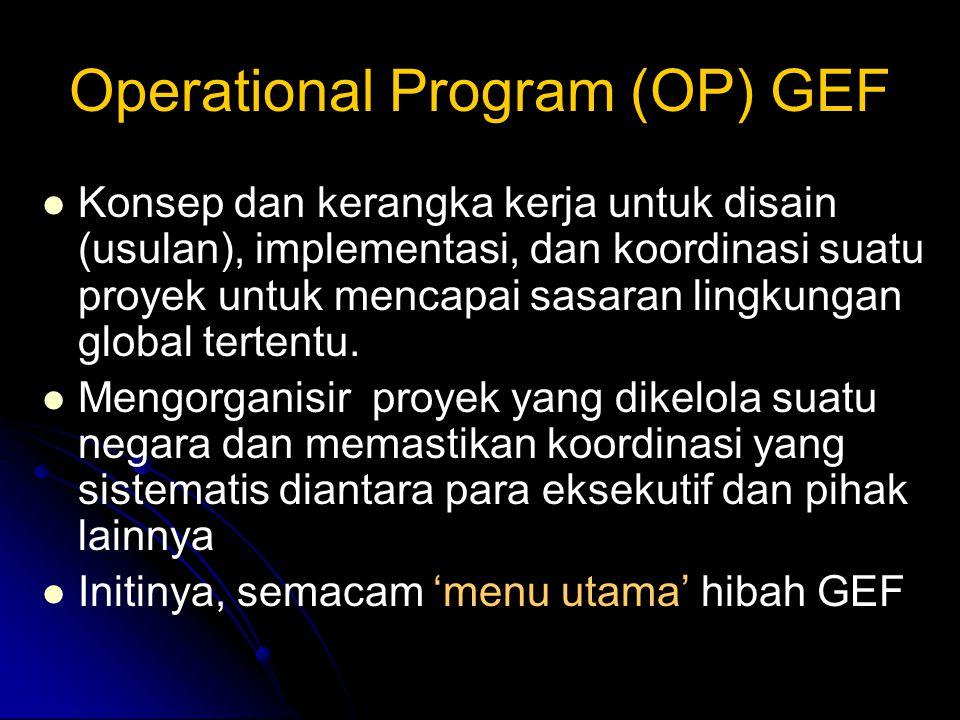 Operational Program (OP) GEF Konsep dan kerangka kerja untuk disain (usulan), implementasi, dan koordinasi suatu proyek untuk mencapai sasaran lingkungan global tertentu.