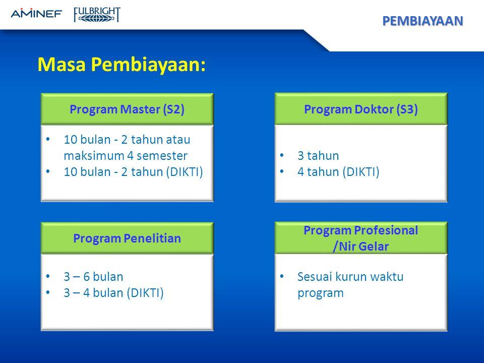 PEMBIAYAAN Program Master (S2) 10 bulan - 2 tahun atau maksimum 4 semester 10 bulan - 2 tahun (DIKTI) Program Doktor (S3) 3 tahun 4 tahun (DIKTI) Program Penelitian 3 – 6 bulan 3 – 4 bulan (DIKTI) Program Profesional /Nir Gelar Sesuai kurun waktu program Masa Pembiayaan: