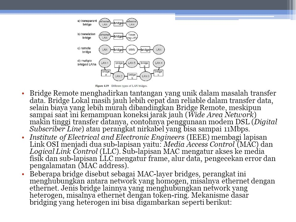 Bridge Remote menghadirkan tantangan yang unik dalam masalah transfer data. Bridge Lokal masih jauh lebih cepat dan reliable dalam transfer data, sela