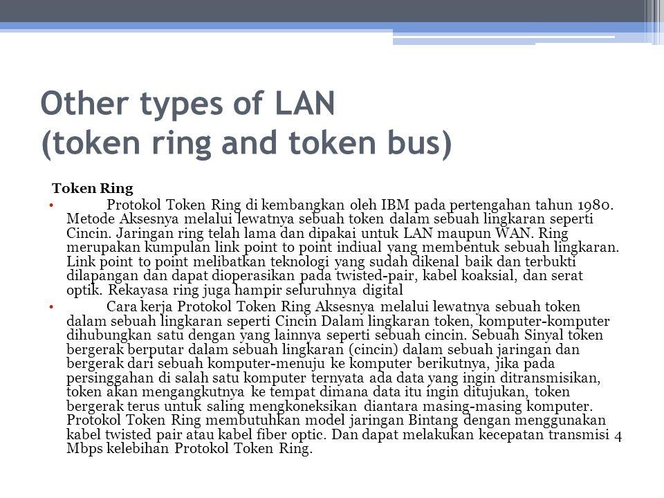 Other types of LAN (token ring and token bus) Token Ring Protokol Token Ring di kembangkan oleh IBM pada pertengahan tahun 1980. Metode Aksesnya melal