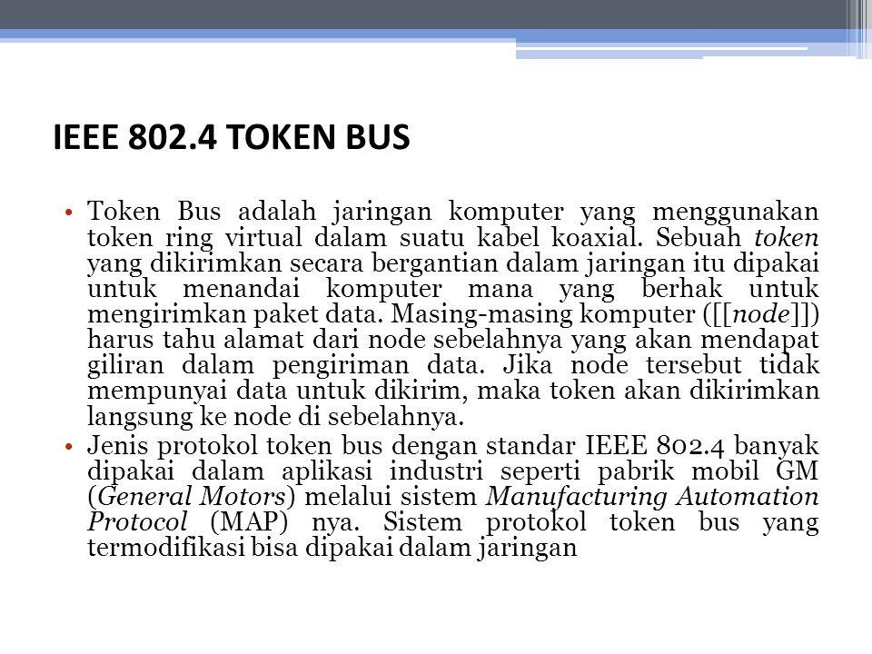 IEEE 802.4 TOKEN BUS Token Bus adalah jaringan komputer yang menggunakan token ring virtual dalam suatu kabel koaxial. Sebuah token yang dikirimkan se