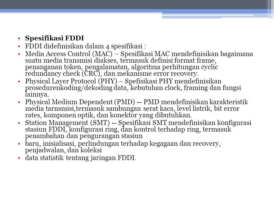 Spesifikasi FDDI FDDI didefinisikan dalam 4 spesifikasi : Media Access Control (MAC) – Spesifikasi MAC mendefinisikan bagaimana suatu media transmisi