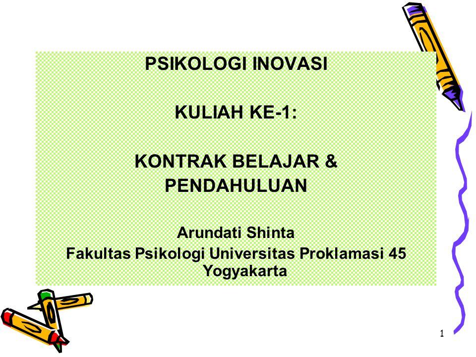 1 PSIKOLOGI INOVASI KULIAH KE-1: KONTRAK BELAJAR & PENDAHULUAN Arundati Shinta Fakultas Psikologi Universitas Proklamasi 45 Yogyakarta