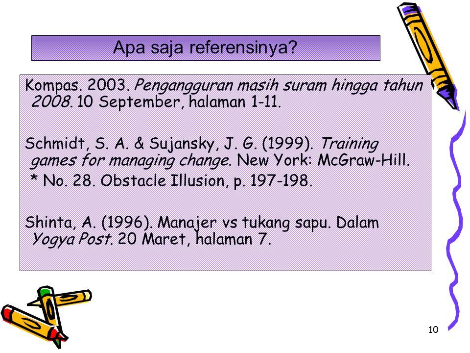 10 Kompas. 2003. Pengangguran masih suram hingga tahun 2008. 10 September, halaman 1-11. Schmidt, S. A. & Sujansky, J. G. (1999). Training games for m