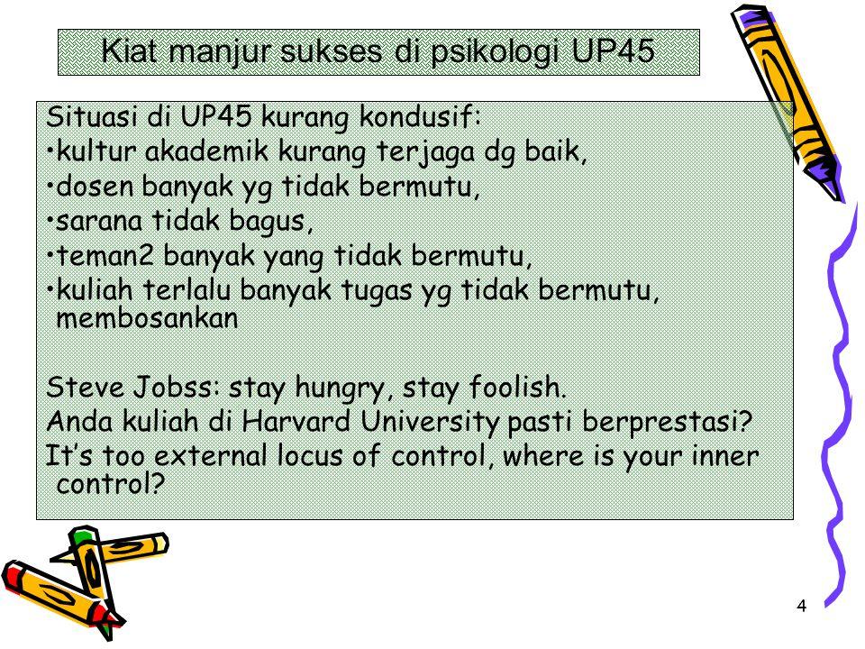 4 Situasi di UP45 kurang kondusif: kultur akademik kurang terjaga dg baik, dosen banyak yg tidak bermutu, sarana tidak bagus, teman2 banyak yang tidak