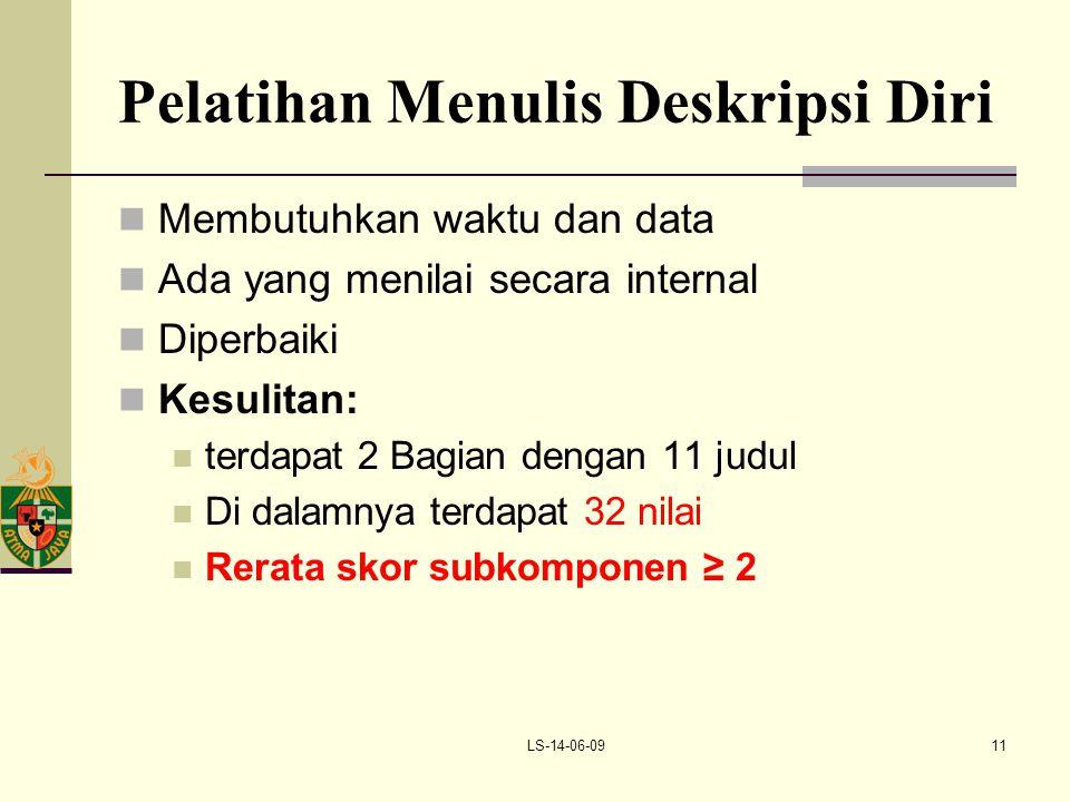 LS-14-06-0911 Pelatihan Menulis Deskripsi Diri Membutuhkan waktu dan data Ada yang menilai secara internal Diperbaiki Kesulitan: terdapat 2 Bagian den