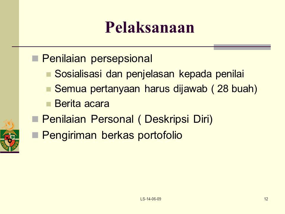 LS-14-06-0912 Pelaksanaan Penilaian persepsional Sosialisasi dan penjelasan kepada penilai Semua pertanyaan harus dijawab ( 28 buah) Berita acara Peni
