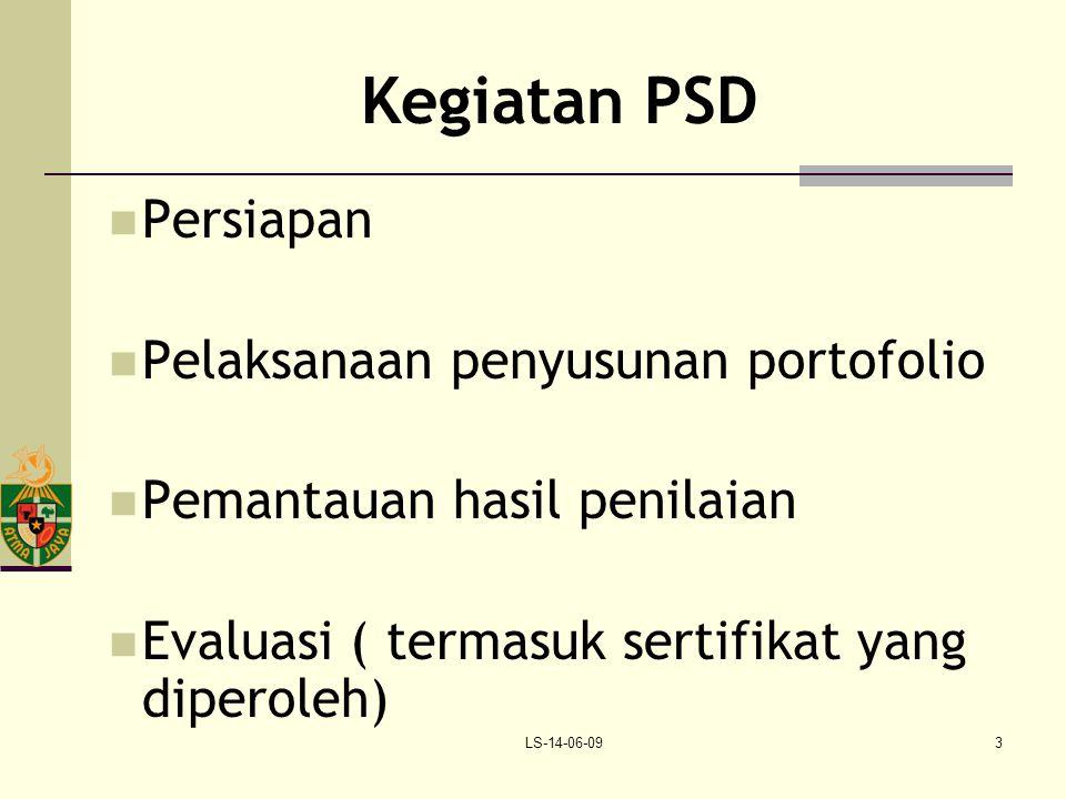 LS-14-06-093 Kegiatan PSD Persiapan Pelaksanaan penyusunan portofolio Pemantauan hasil penilaian Evaluasi ( termasuk sertifikat yang diperoleh)