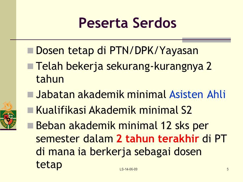 LS-14-06-095 Peserta Serdos Dosen tetap di PTN/DPK/Yayasan Telah bekerja sekurang-kurangnya 2 tahun Jabatan akademik minimal Asisten Ahli Kualifikasi
