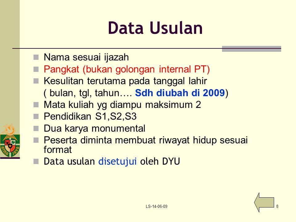 LS-14-06-098 Data Usulan Nama sesuai ijazah Pangkat (bukan golongan internal PT) Kesulitan terutama pada tanggal lahir ( bulan, tgl, tahun…. Sdh diuba