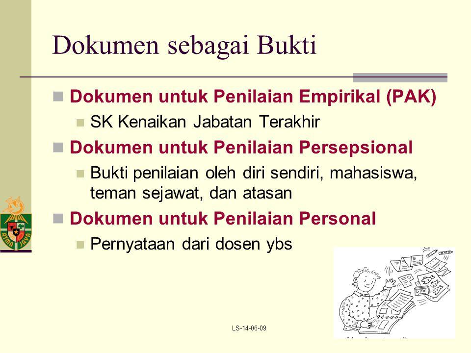 LS-14-06-099 Dokumen sebagai Bukti Dokumen untuk Penilaian Empirikal (PAK) SK Kenaikan Jabatan Terakhir Dokumen untuk Penilaian Persepsional Bukti pen