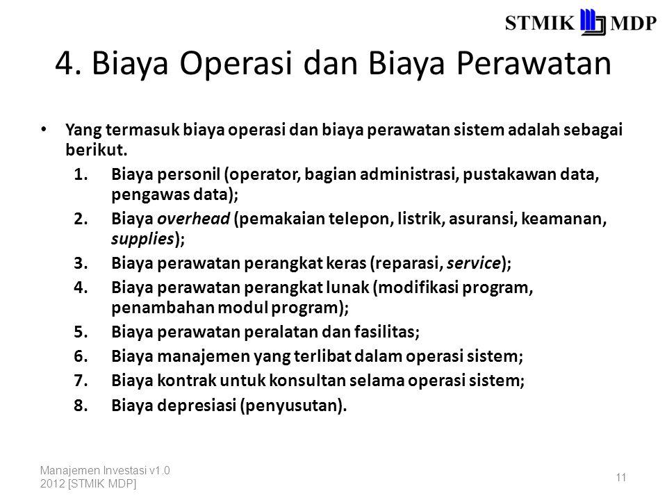 4. Biaya Operasi dan Biaya Perawatan Yang termasuk biaya operasi dan biaya perawatan sistem adalah sebagai berikut. 1.Biaya personil (operator, bagian